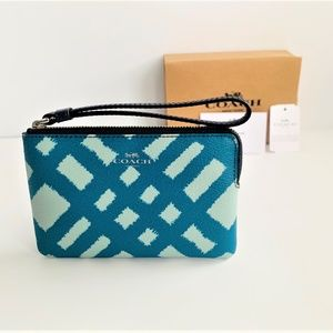 Coach Wild Plaid Corner Zip Wristlet